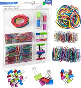 Mr. Pen Assorted Colors Medium, Small and Mini Binder Clips, Jumbo and Small Paper Clips, Rubber Bands