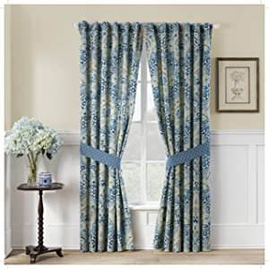 """WAVERLY Curtains for Bedroom - Moonlit Shadows 100"""" x 84"""" Decorative Double Panel Rod Pocket Window Treatment Privacy Curtain Pair for Living Room, Lapis"""