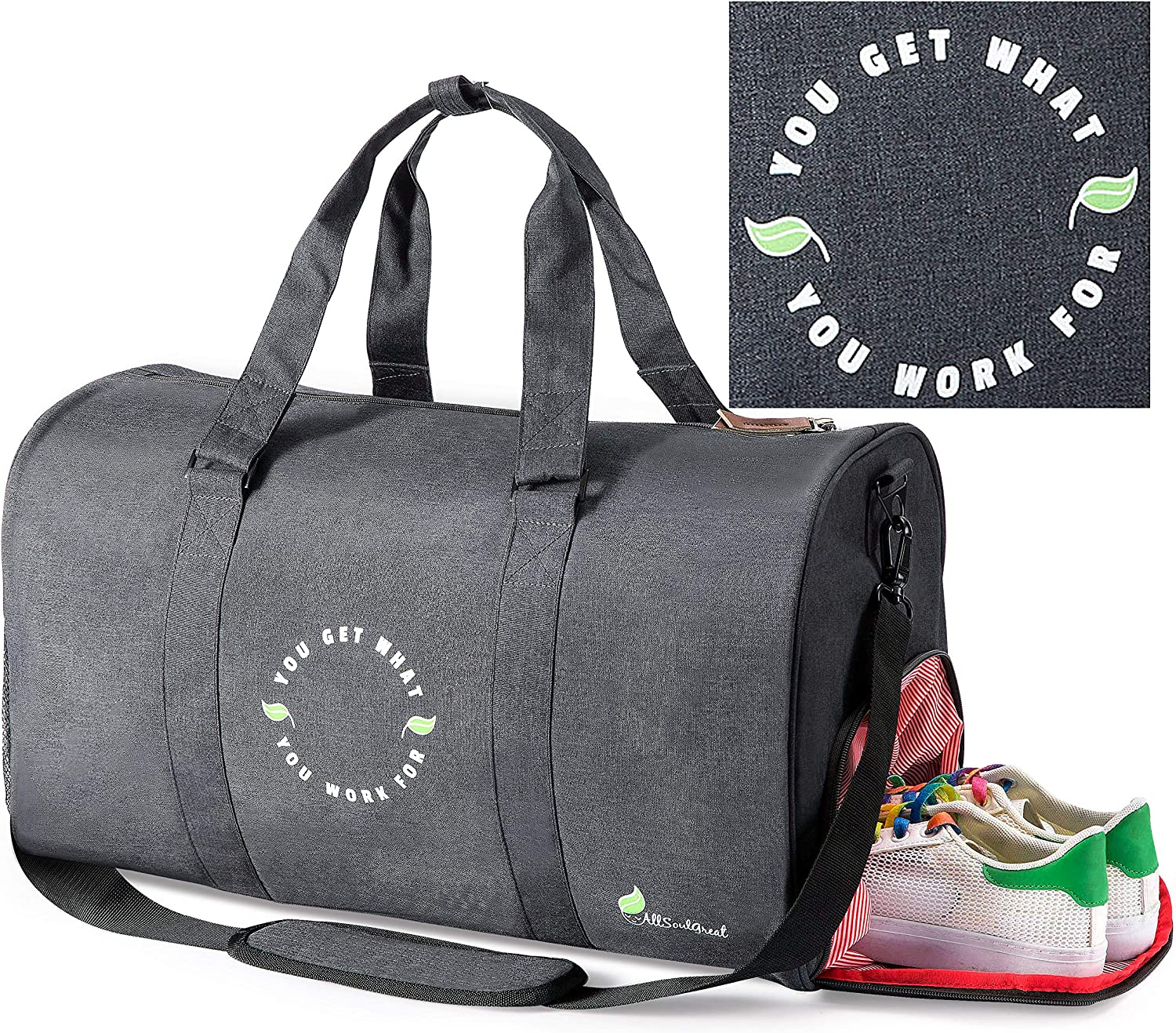 All Soul Great Gym Bag Duffel Gym Bag Black Weekender Duffel Bag with Shoe Compartment   For Men/Women/Boys/Girls/Workout/Crossfit/Sport/Gym/Travel/Fitness/Yoga/Athletes/Office