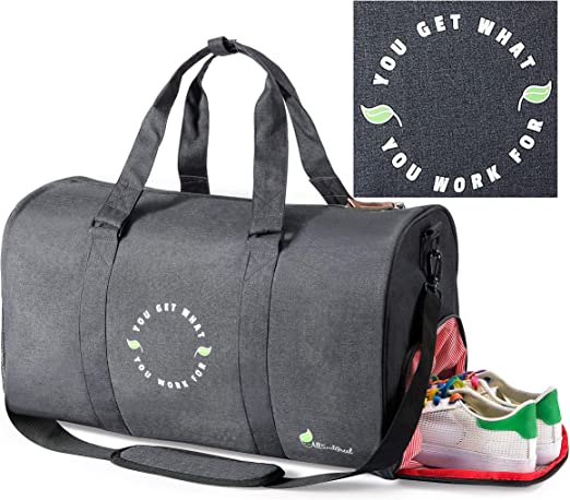 Motivational Gym Sports Small Duffel Bag for Men and Women with Shoes Compartment