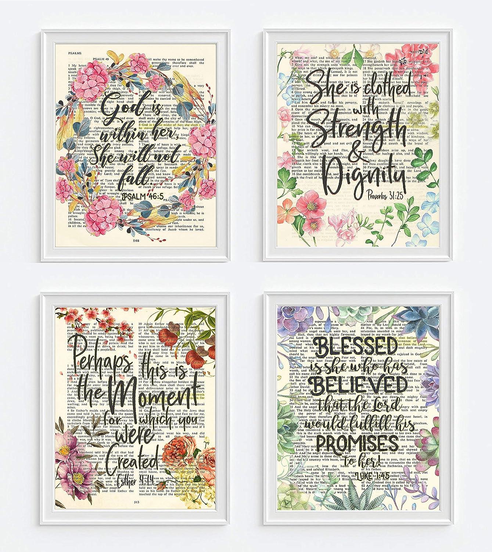 Psalm 46:5, Proverbs 31:25, Esther 4:14, Luke 1:45 Christian ART PRINTS for  her, Set of 4, UNFRAMED, Bible verse scripture wall decor poster, 8x10