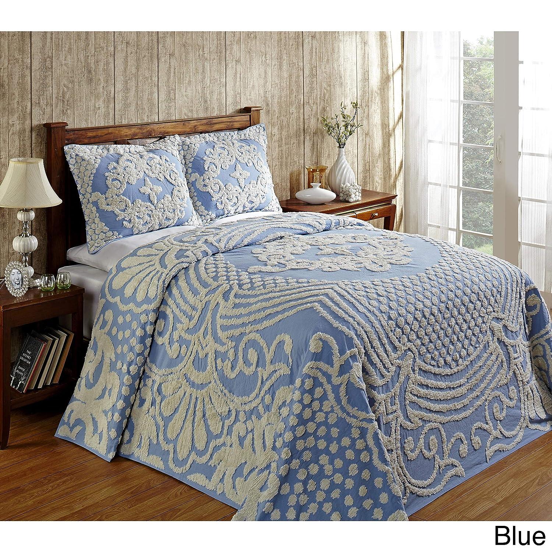 BetterトレンドFlorenceソフトコットンシェニール織Bedspread by フル ブルー Florence B073LC8L57 ブルー フル