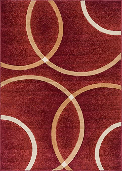 Well Woven Circo Red Modern Geometric Rings Circles Lines Hand Carved Area Rug 3 X