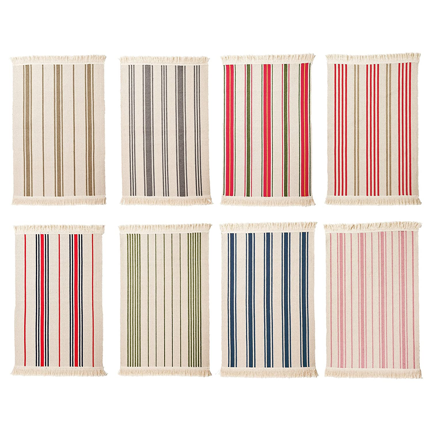 Amazon Flatwoven Cotton Area Rug with Color Stripes Machine