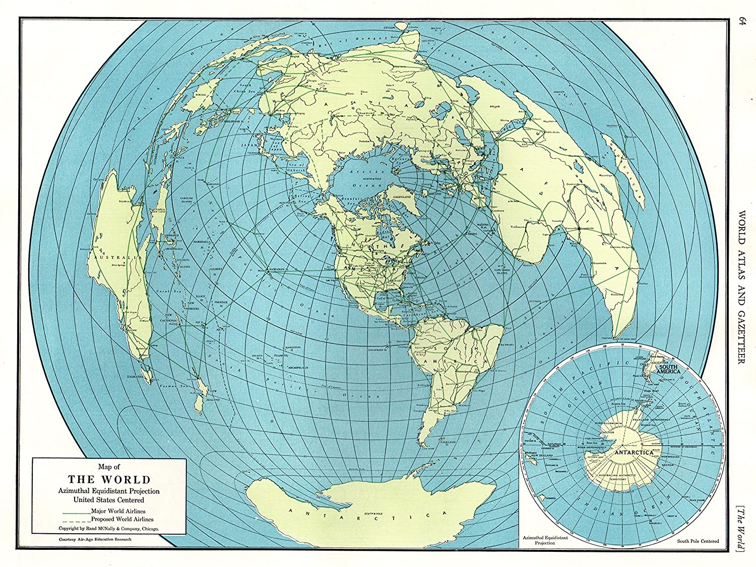South Pole World Map.Amazon Com 1947 Antique Polar World Map North Pole Arctic Map