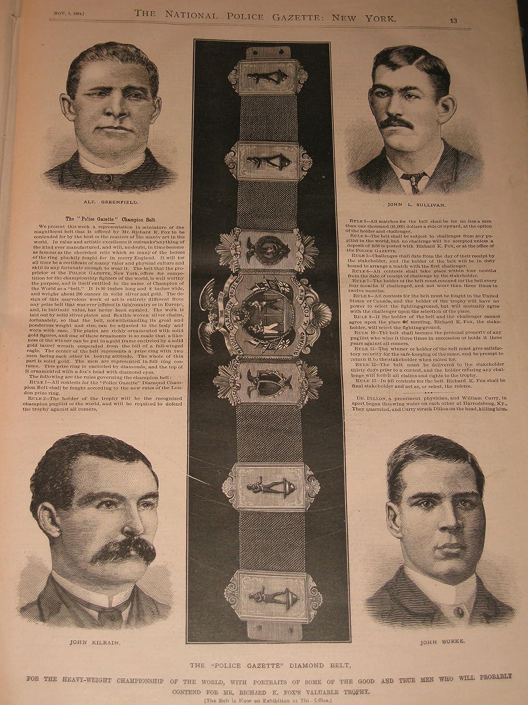1884 The Police Gazette:The McCaffrey Mitchell Match -John L
