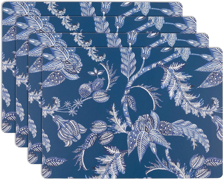 House and Home Cork Placemats 16 x 12-Inch Set of 4 (Indigo Batik Floral Print)