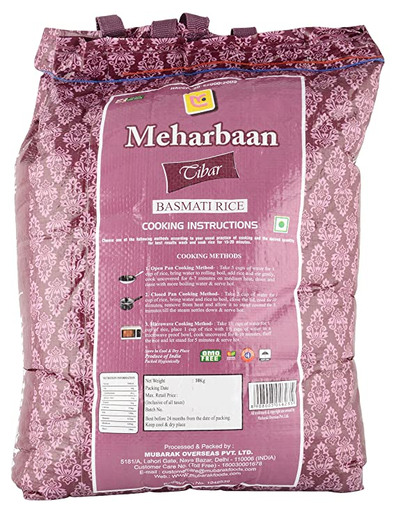 Meharbaan Tibar Basmati Rice, 10 kg: Amazon in: Grocery