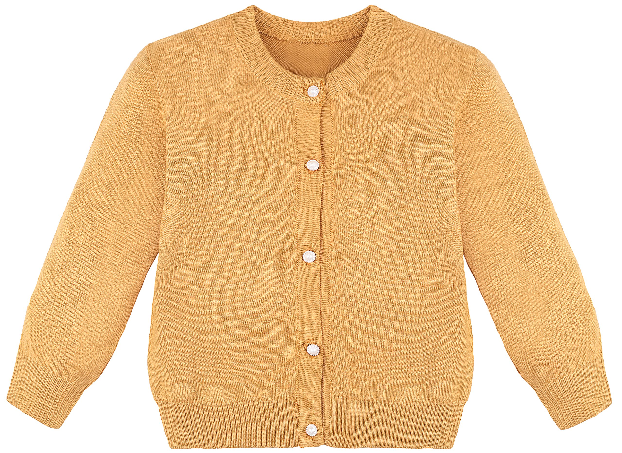 Lilax Little Girls' Knit Uniform Cardigan Long Sleeve Sweater 7 Mustard
