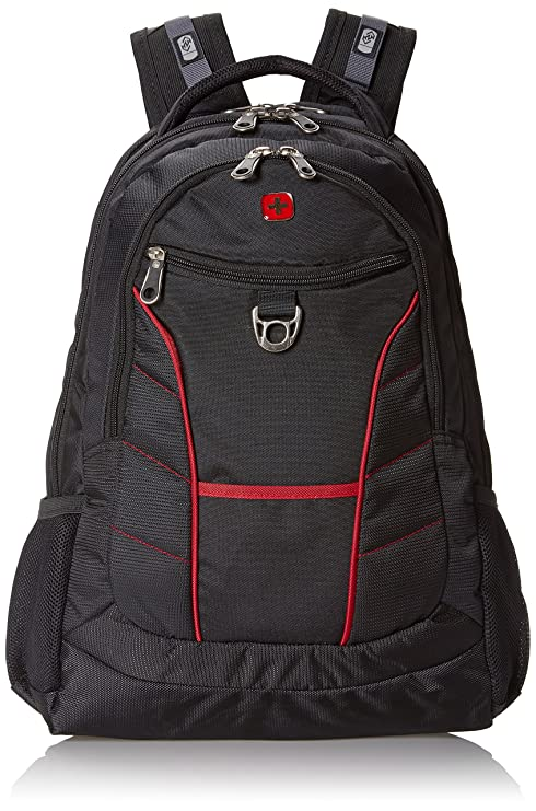 28dc3b707892 Swiss Gear SA1775 Black with Red Accents Laptop Backpack - Fits Most 15  Inch Laptops and