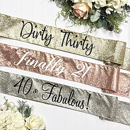 Glitter Birthday Sash - 21st Birthday Sash - 30th Rose Gold Glitter Sash -  It's My 21st Birthday