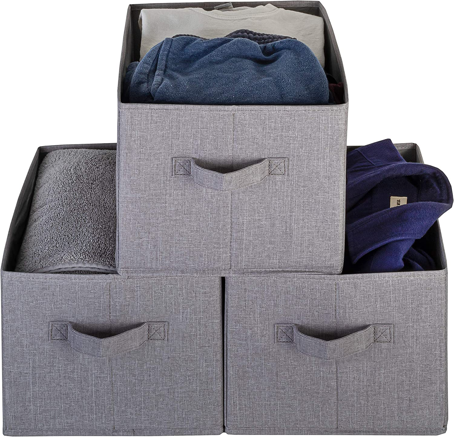 Foldable Durable and Sturdy Storage Bins Basket Cube Shelf Organizer Grey Pomatree Large Storage Baskets Cationic Fabric Organizing Basket Bin For Closet /& Shelves Organization 4 Pack