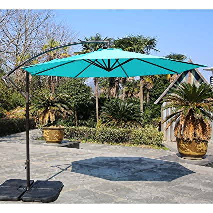 Sumbel Outdoor Living 10 Ft Patio Umbrella Offset Hanging Umbrella Outdoor,  Turquoise