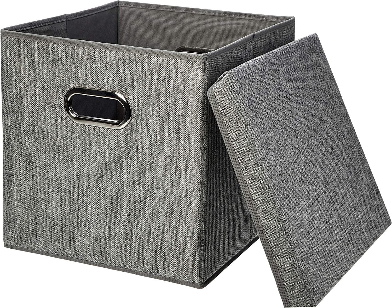 Amazon Com Amazon Basics Foldable Burlap Cloth Cube Storage Bin With Lid Set Of 2 Home Kitchen