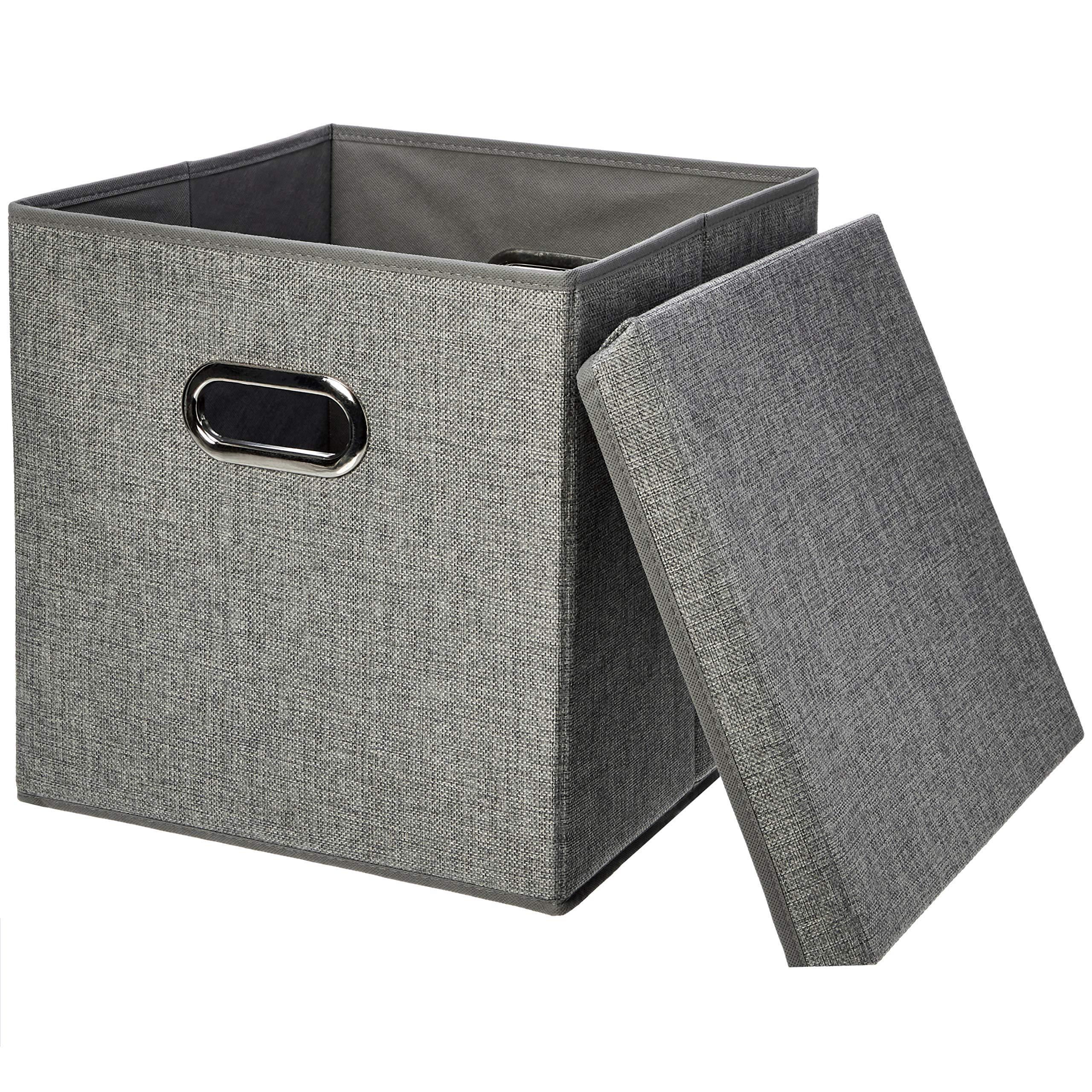 Amazon Basics Foldable Burlap Cloth Cube Storage Bin with Lid, Set of 2