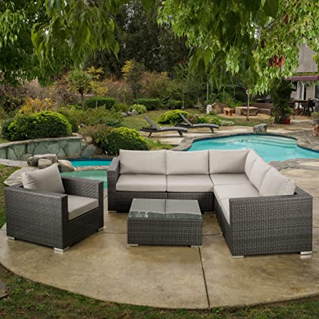 Francisco Outdoor 7 Piece Grey Wicker Seating Sectional Set With Sunbrella  Cushions