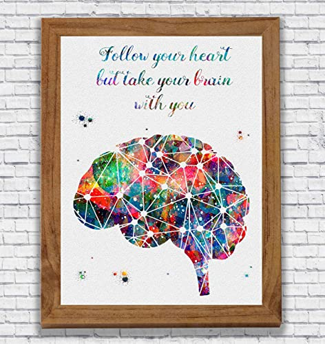 Amazon Brain Anatomy Quote Watercolor Poster Art Print Wall