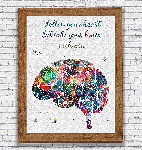 Amazoncom Brain Anatomy Quote Watercolor Poster Art Print Wall