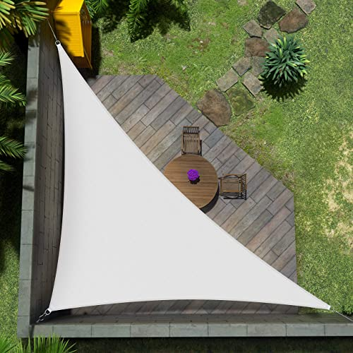 Amgo Custom Size Right Triangle 9' x 17' x 19.2' White Triangle Sun Shade Sail ATAPT12 Canopy Awning
