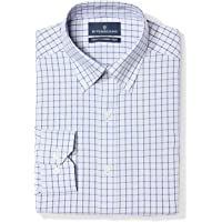 Marca Amazon - Buttoned Down Tailored Fit Button-collar Pattern Non-iron Dress Shirt Hombre