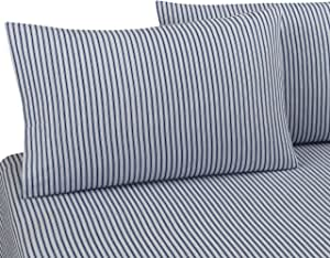 DELANNA Flannel Flat Sheet 100/% Brushed Cotton 1 Top Sheet Only 80x96 Full, Red Stripe