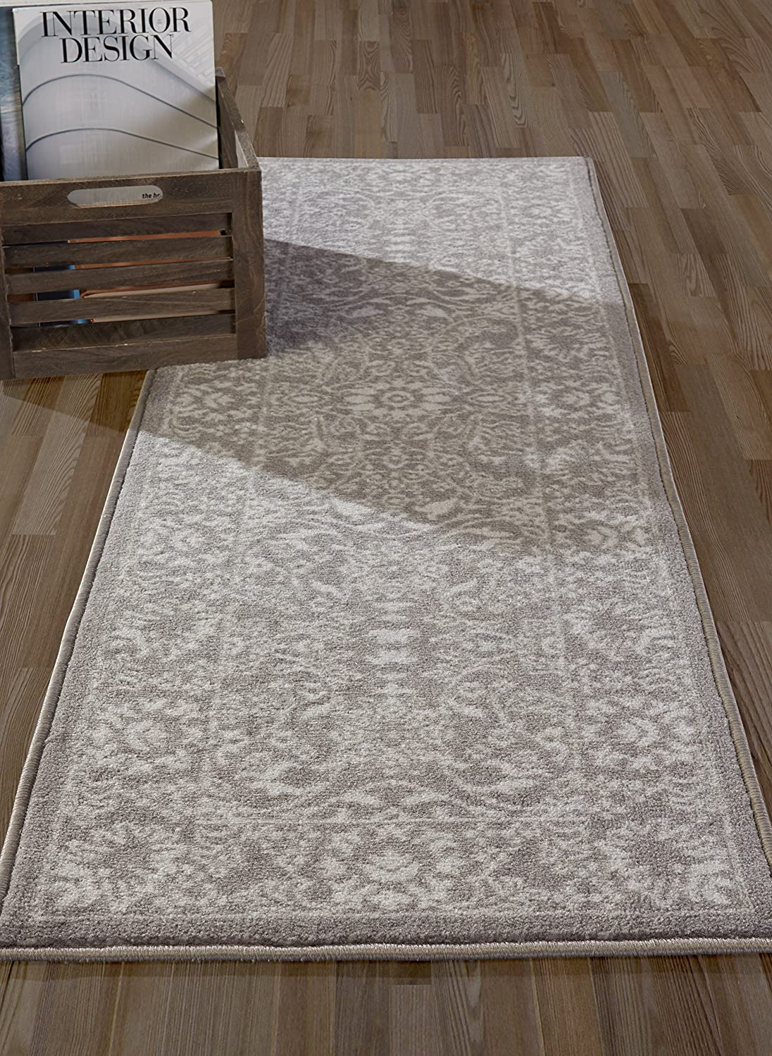 Diagona Designs Contemporary Paisley Design Non-Slip Kitchen 26 W x 72 L Bathroom Beige 26/'/' W x 72/'/' L ANN1062-2X6 Hallway Area Rug Runner
