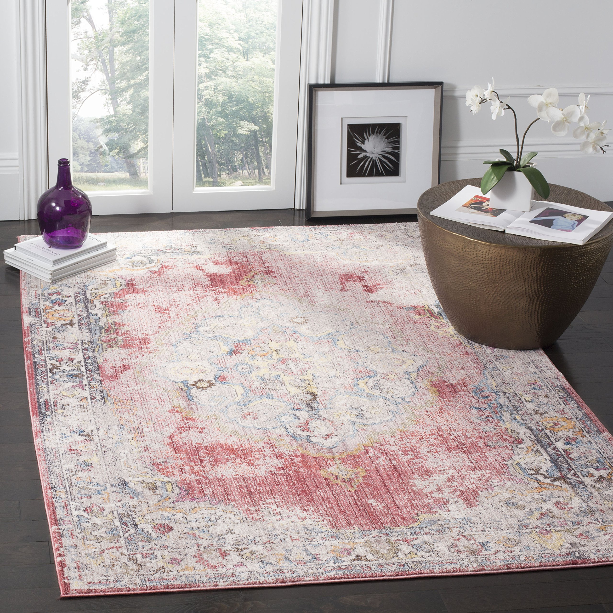Safavieh Bristol Collection BTL343R Rose and Light Grey Vintage Bohemian Medallion Area Rug (5'1'' x 7'6'') by Safavieh