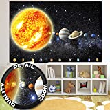 Wallpaper Solar System Planets Mural Decoration Galaxy Cosmos Space Universe All Sky Stars Galaxy Universe Earth I paperhanging Wallpaper poster wall decor by GREAT ART (82.7x55 Inch)