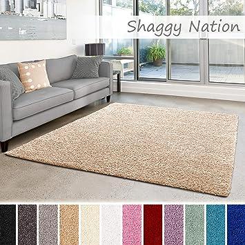 Shaggy-Teppich | Flauschiger Hochflor für Wohnzimmer, Schlafzimmer,  Kinderzimmer oder Flur Läufer | einfarbig, schadstoffgeprüft,  allergikergeeignet | ...