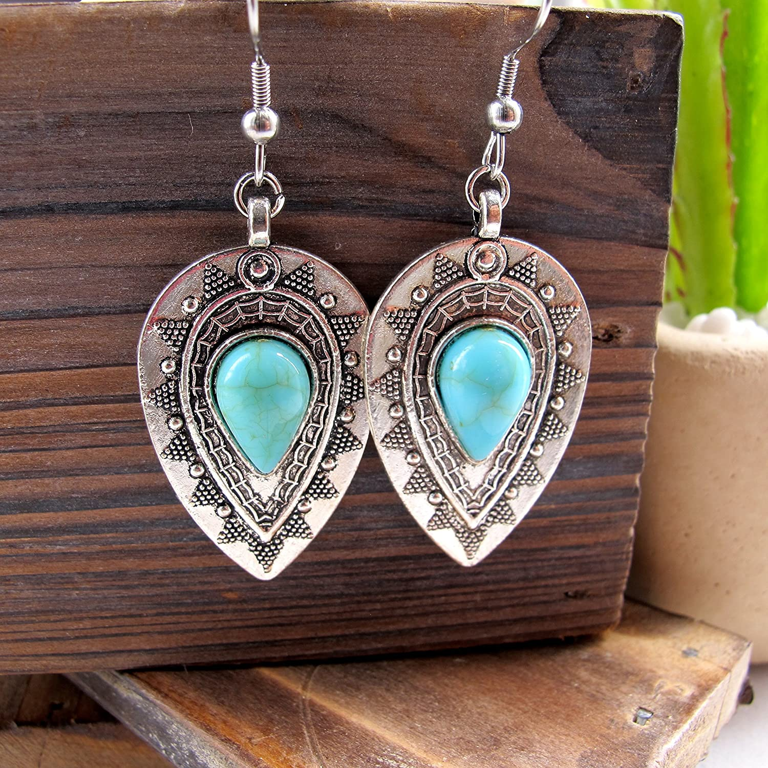 Boho Turquoise and Silver Dangle Earrings Stainless Steel Earring Hooks