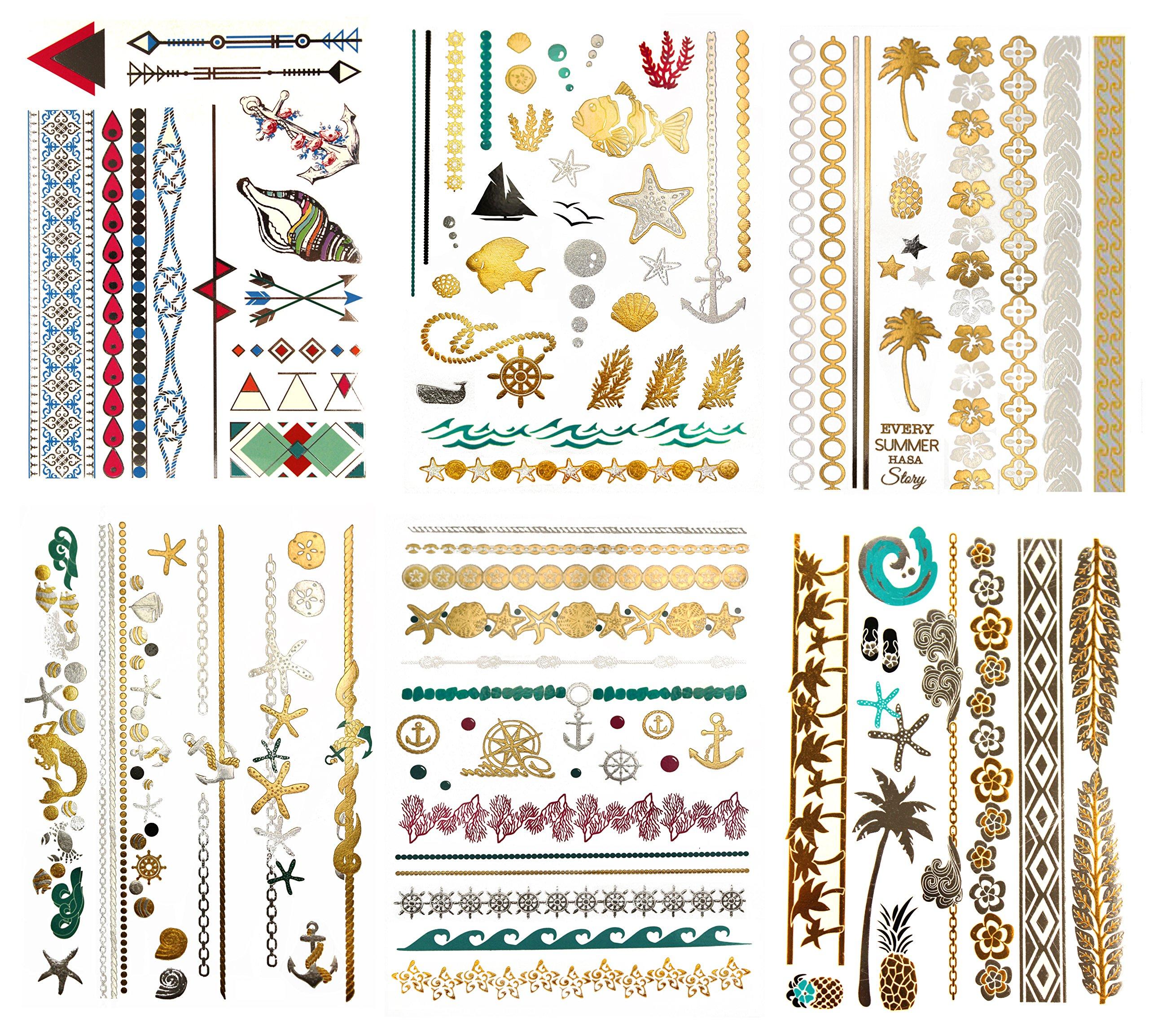 Metallic Color Hawaiian Temporary Tattoos - 75 Beach Sea Life Designs in Gold Silver Tropical Colors (6 Sheets) Terra Tattoos Alana Collection