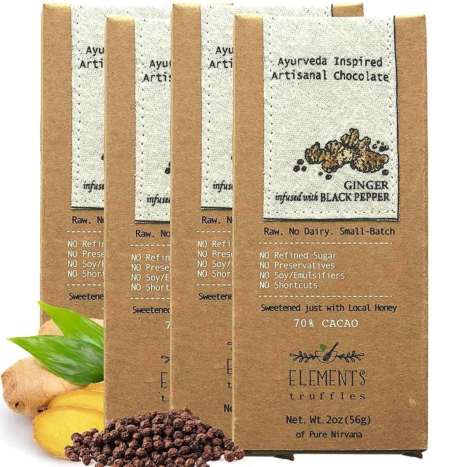 Elements Truffles Ginger Bar with Black Pepper Infusion - Dairy Free Chocolate Bar - Gluten Free, Non-GMO, Raw & Fully Organic Chocolate Bar - Ayurveda Inspired Healthy Chocolate Bar - Four Pack