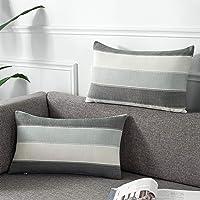 AmHoo Pack of 2 Farmhouse Stripe Check Throw Pillow Covers Set Case Cotton Linen Decorative Pillowcases Cushion Cover…