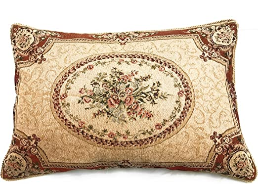 Tache 1PC Vintage Yuletide Red Blooms Woven Tapestry Cushion Throw Pillow Cover