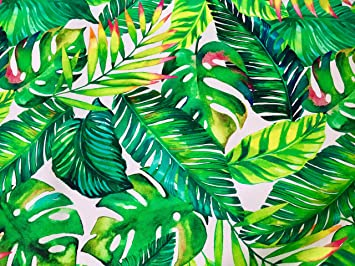 Amazon Com Tropical Leaves 3 Palm Leaf Fabric Curtain Upholstery