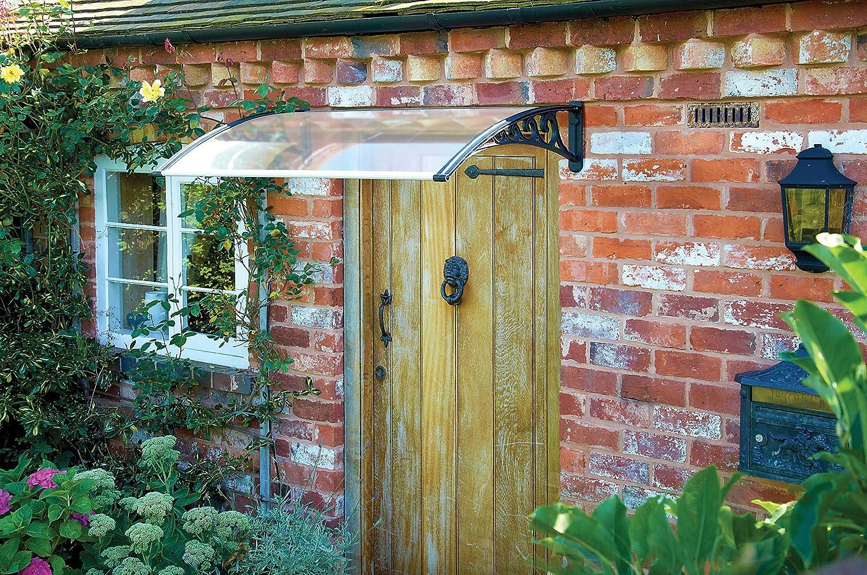 Greenhurst Easy Fit 1.2m Door Canopy with Black Decorative Side Brackets Amazon.co.uk Garden u0026 Outdoors & Greenhurst Easy Fit 1.2m Door Canopy with Black Decorative Side ...