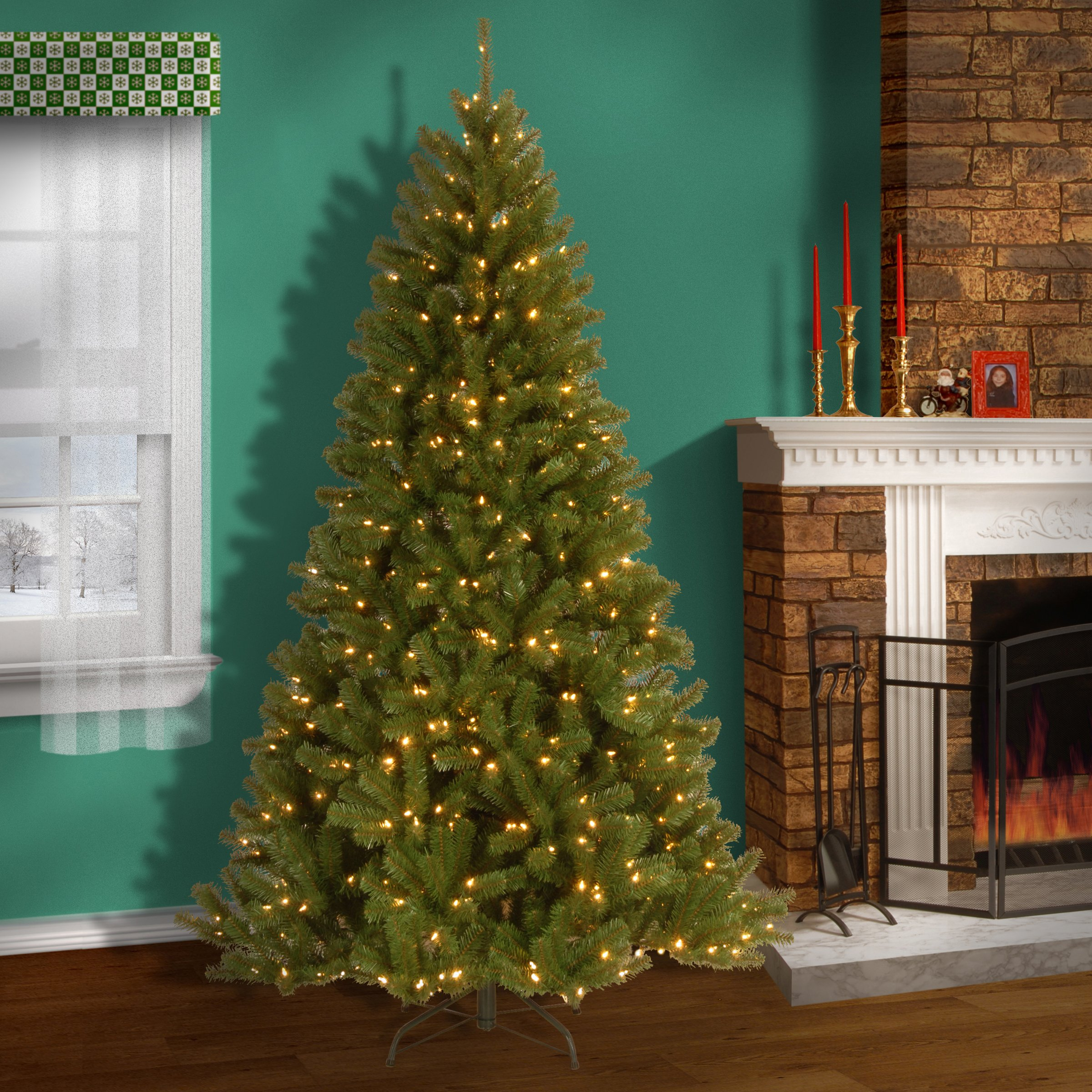 National Tree 7.5 Foot North Valley Spruce Tree with 550 Clear Lights, Hinged (NRV7-300-75) by National Tree Company (Image #2)