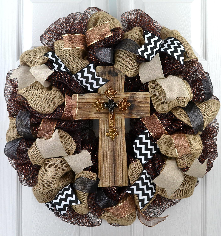 Cross Wreath | Year Round Wreath | Mom Gift | Black Burlap White Rustic Front Door Wreath