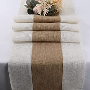 Burlap Table Runners for Kitchen Jute Table Runner 72 Inch - Natural Farmhouse Centerpieces for Tables - Dining Room Table Runners for Birthday Party Wedding Home Decor