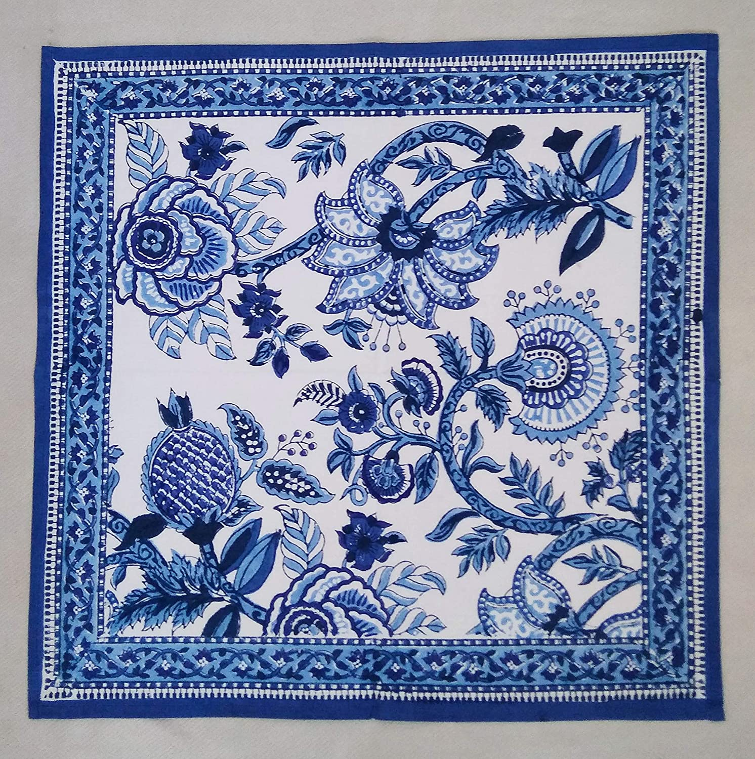 Set of 12 Blue /& White Ananas Chinoiserie Floral Anokhi Hand block Print Indian Cotton Napkins 18 Square
