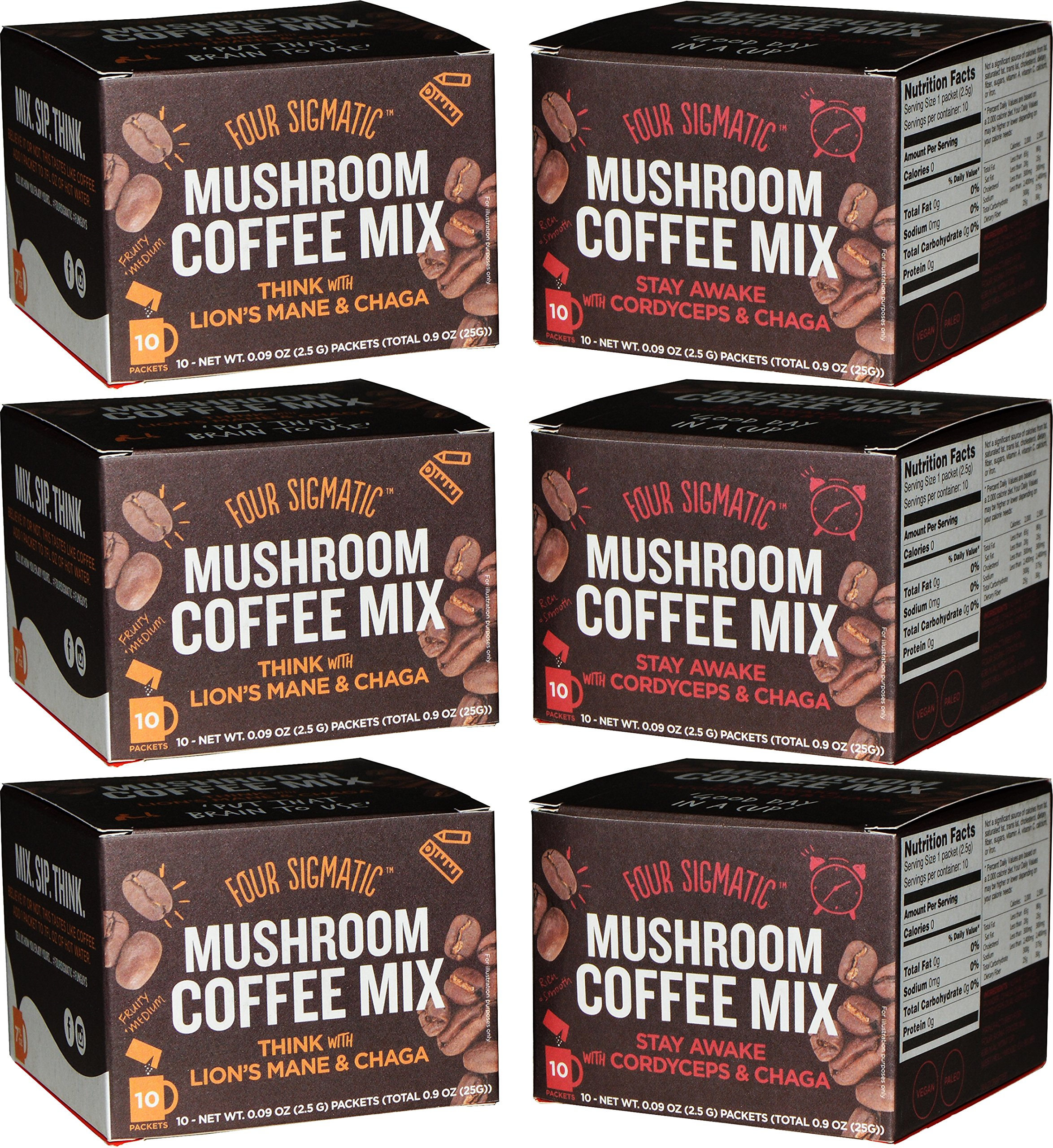 Four Sigmatic Mushroom Coffee Mix Pack of 6 - Lion's Mane and Chaga & Cordyceps and Chaga