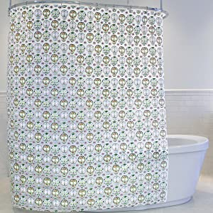 Splash Home PEVA 5G Skull Candy Curtain Liner Design for Bathroom Showers and Bathtubs Free of PVC Chlorine and Chemical Smell-Eco-Friendly-100% Waterproof, 70 x 72 Inch, Multi
