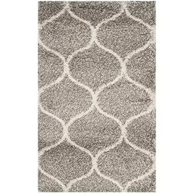 Safavieh Hudson Shag Collection SGH280B Moroccan Ogee Plush Area Rug, 2' x 3', Grey/Ivory