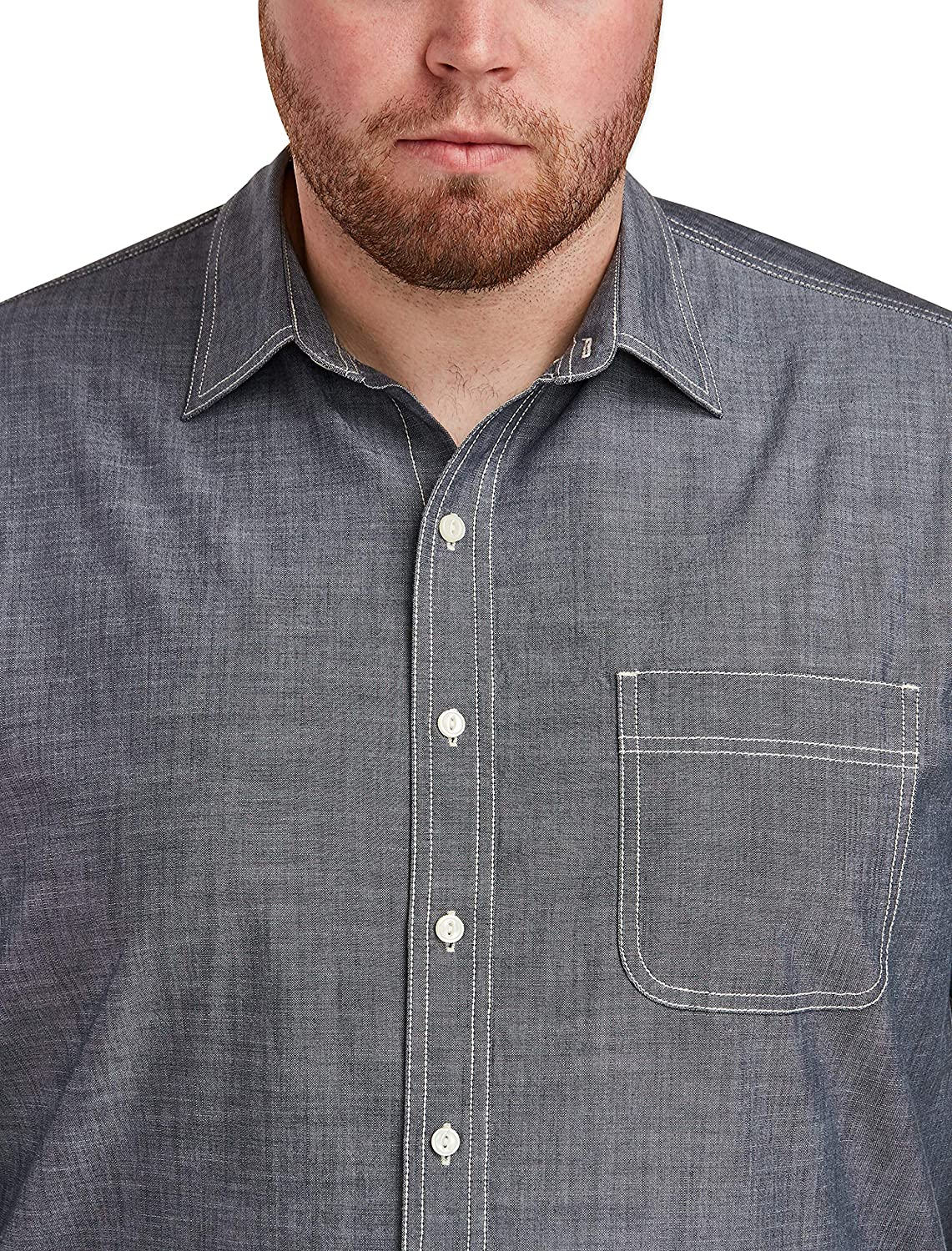Essentials Mens Big /& Tall Long-Sleeve Chambray Shirt fit by DXL