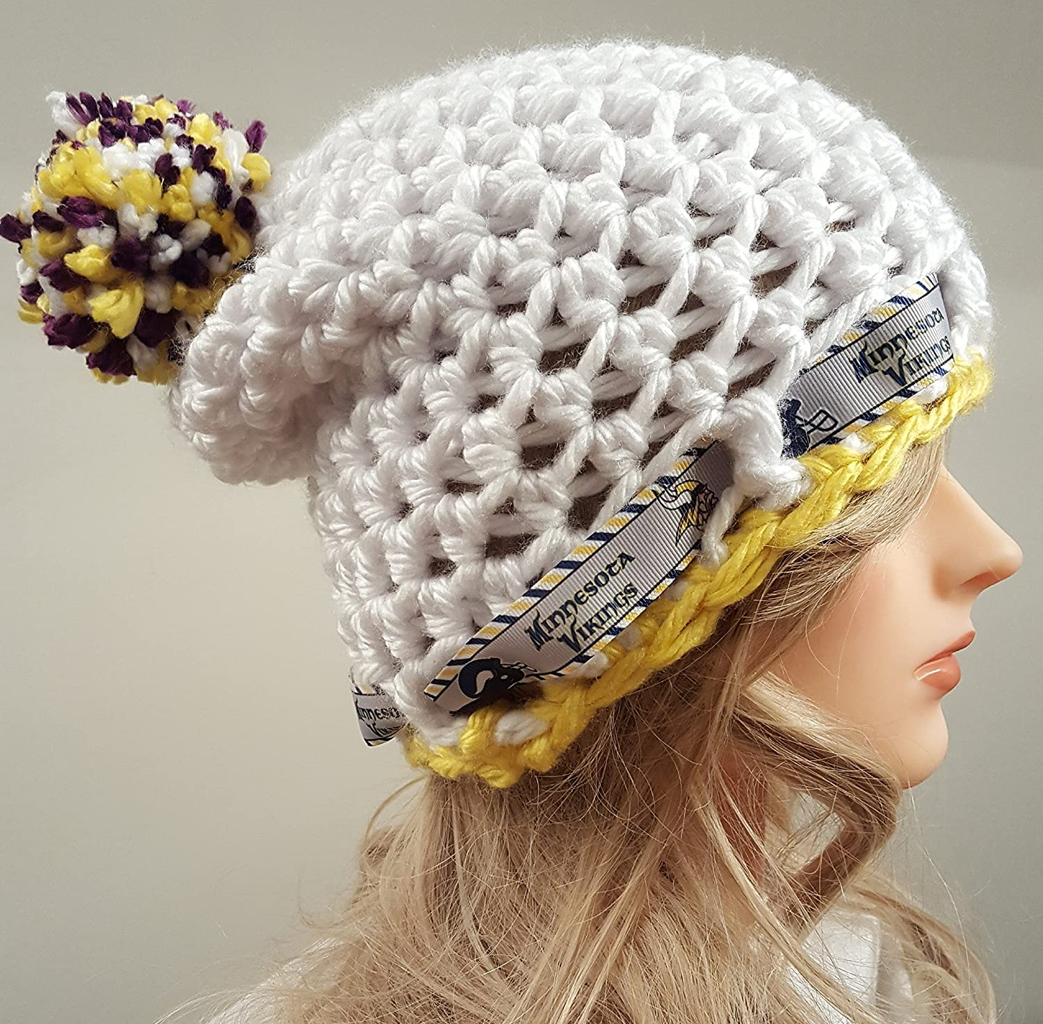 36e1a2c10 Amazon.com  crochet VIKINGS slouch hat inspired hat. Ladies size. Made By  Bead Gs on AMAZON.  Handmade