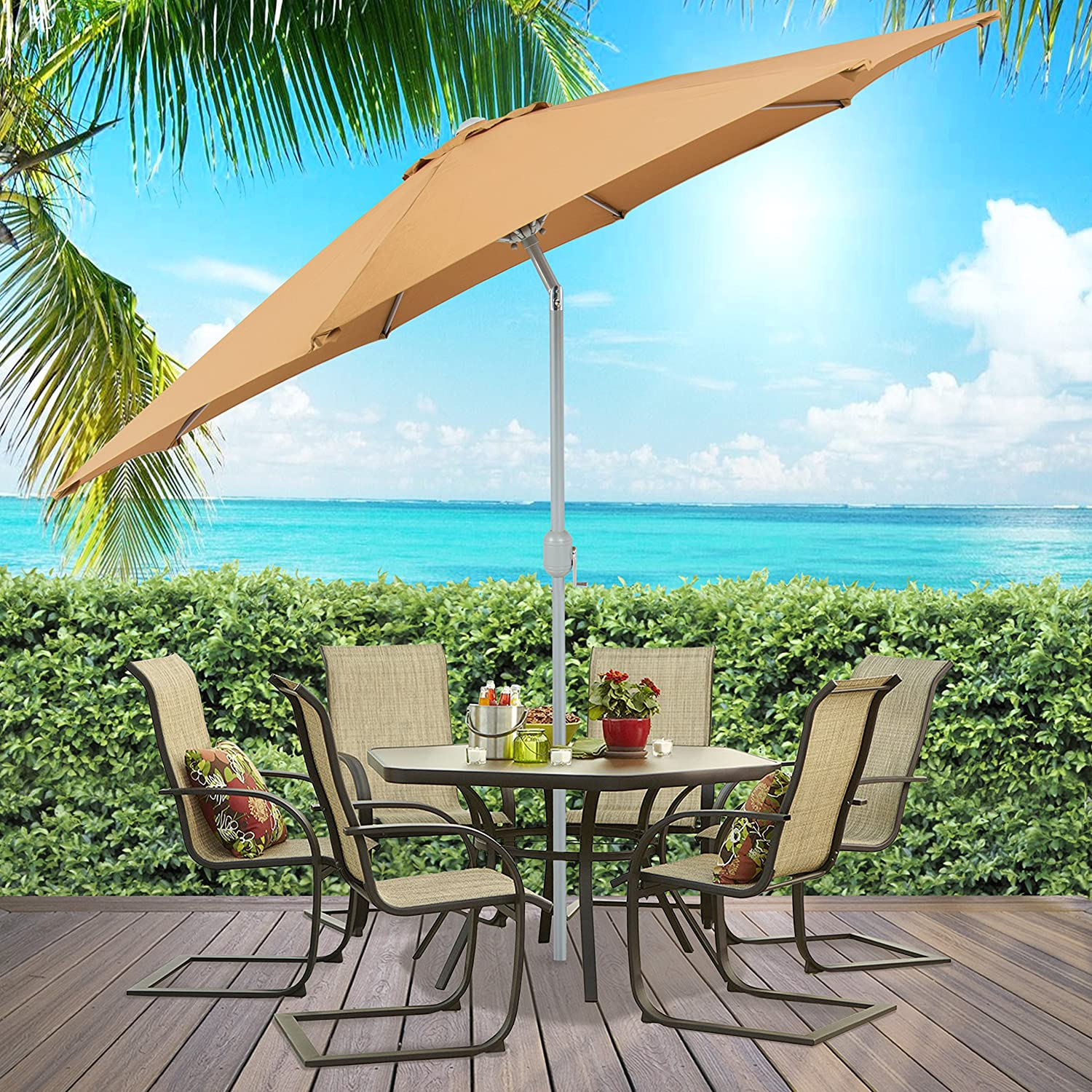 Amazon.com : Best Choice Products Patio Umbrella 9ft Aluminum Outdoor Patio  Market Umbrella W/Crank Tilt   Beige : Garden U0026 Outdoor