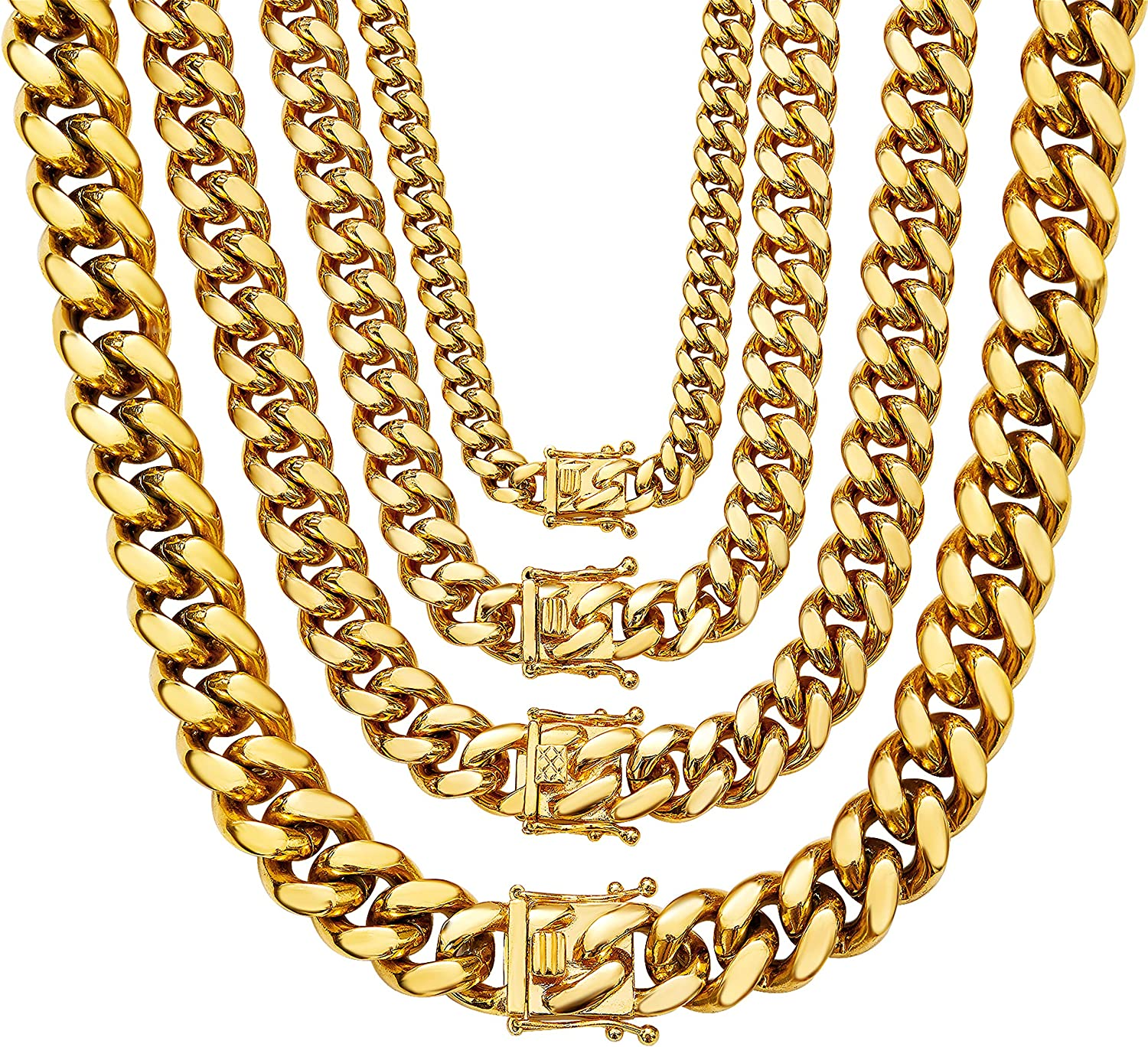 Box Weave Chain Link Necklace Stainless Steel 6mm thick