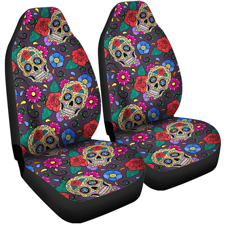 Superb Amazon Com Gnarly Tees Sugar Skull Pattern Car Seat Cover Evergreenethics Interior Chair Design Evergreenethicsorg