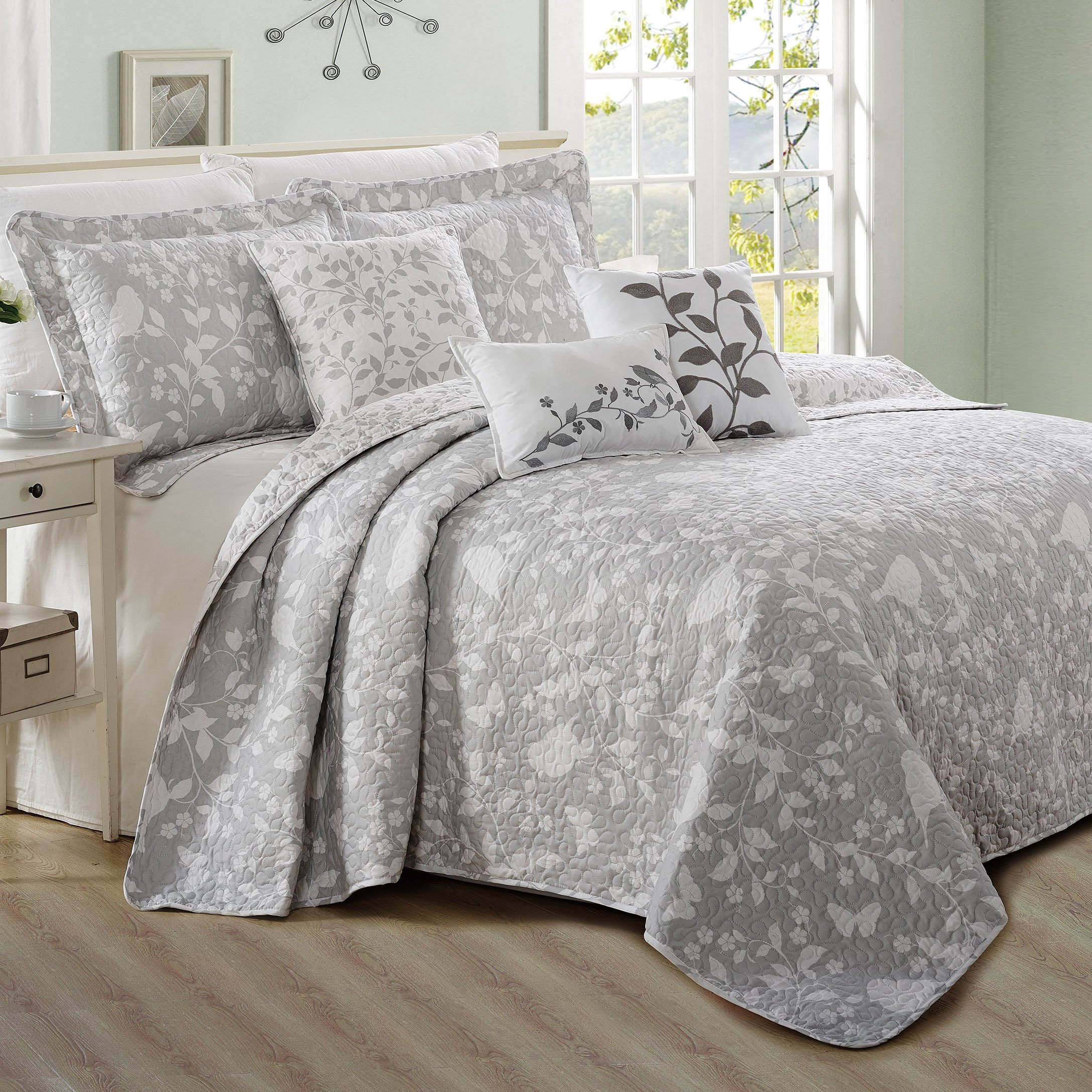 Home Soft Things Serenta 6 Piece Bird Song Printed Microfiber Quilts Coverlet Set, Queen, Gray