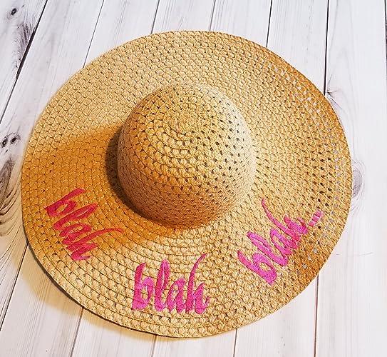 Amazon.com  Blah blah blah Straw Floppy Beach Sun Hat for kids ... 522bd2195d8